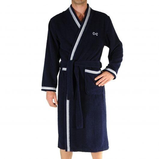 Kimono éponge Christian Cane bleu marine liseré blanc