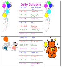 Sample daycare schedule i like the idea of using this for Child care daily routine template