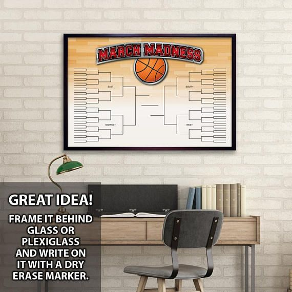 March Madness PRINTABLE Basketball Bracket Chart FOUR SIZES