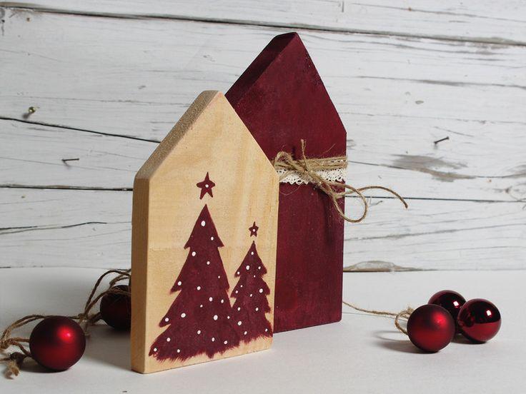 Vintage Weihnachtsdeko - Weihnachtsdeko Holz Häuschen Set - ein Designerstück von melkey bei DaWanda