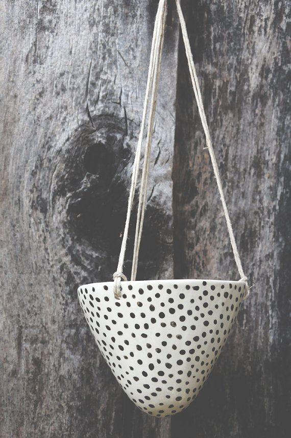 Black and White Dot Hand Painted Ceramic Hanging Planter //  Glazed Clay Succulent Planter // Decorative + Functional White Clay Planter