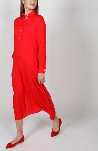 Wadenlang und mit langen Manschettenärmel verleiht dieses Blusenkleid Eleganz und Cooles zugleich. Shoppen Sie das fließende Kleid mit Hemdkragen auf REYERlooks.com!