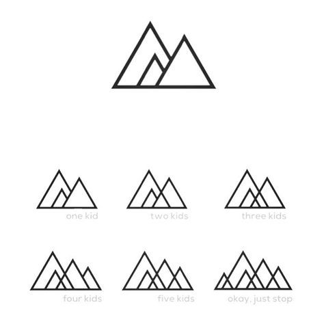 A progressive mountain range. so cool. represent your family with mountains. You can add more as your family grows.