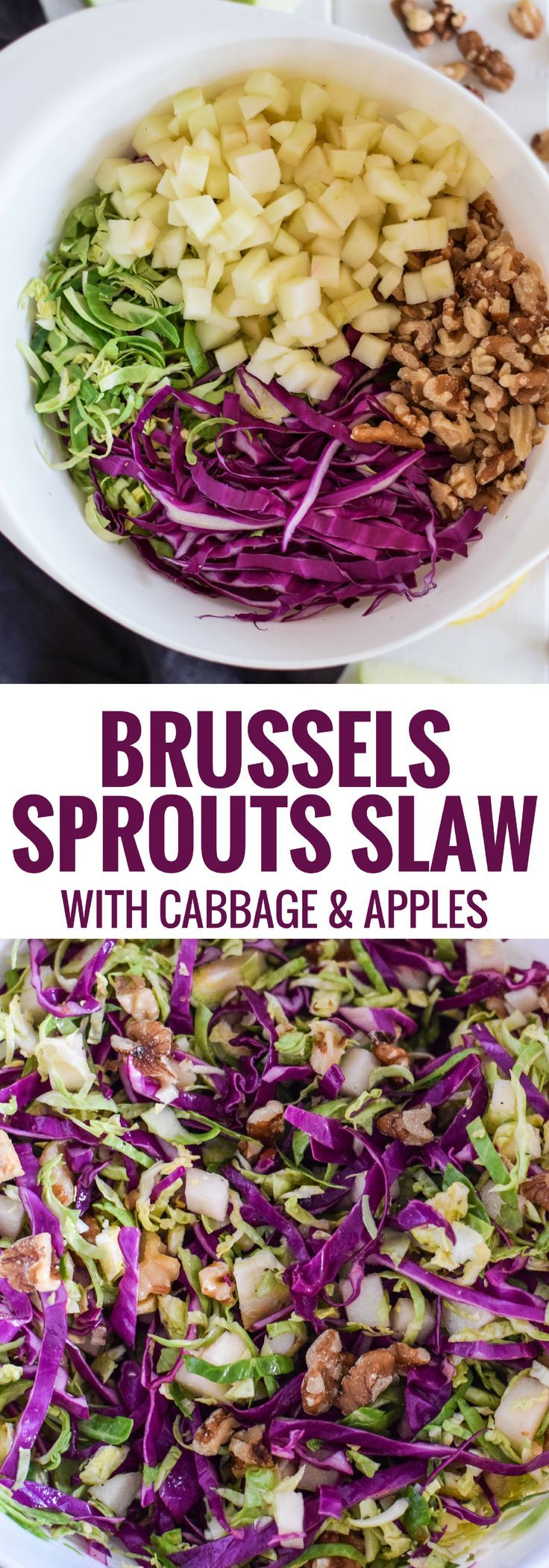 This healthy Brussels Sprouts Slaw with Cabbage and Apples is the perfect side dish for any meal. Also goes great on tacos! (gluten free, paleo, vegetarian, vegan)