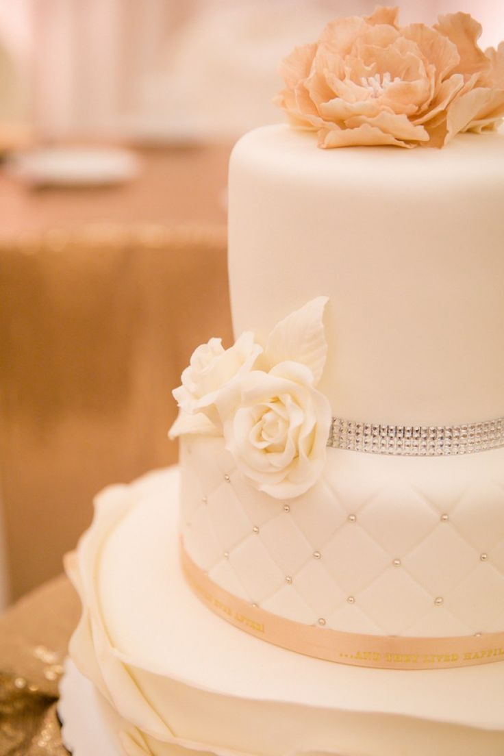 Wedding cake. Elegant Purple Gold Wedding by Joanna Moss Photography - KnotsVilla