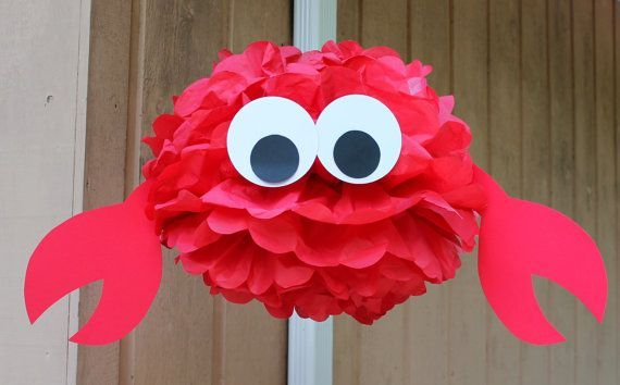 Crab tissue paper pom pom kit  under the sea ocean water mermaid decoration on Etsy, $9.99