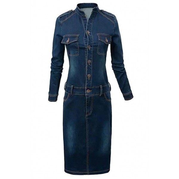 Essential Blue Bodycon Denim Dress ($21) ❤ liked on Polyvore featuring dresses, deep blue, denim bodycon dress, blue dress, deep blue dress, long sleeve bodycon dress and bodycon dress