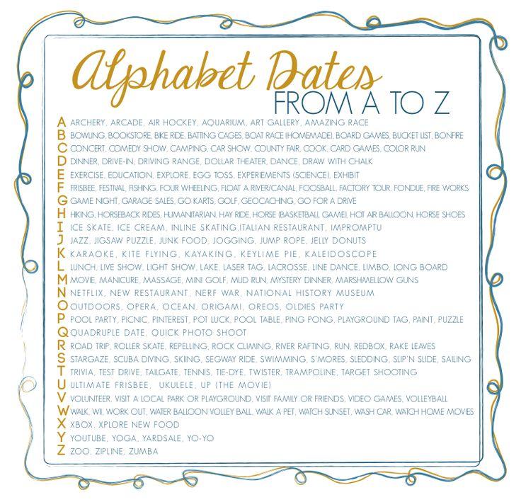 Alphabet dating a ideas