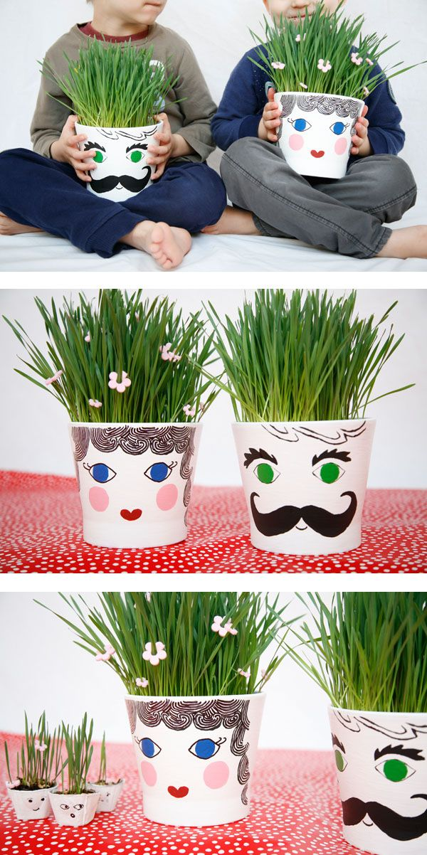 Grass head pots - a fun spring gardening craft or Earth Day activity for kids. Plant the seeds, water and watch the grass grow. | at Non Toy Gifts