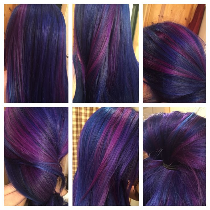 Haylies hair winter 2014/2015.  Manic Panic After Midnight, Manic Panic Purple Haze and ion color brilliance brights Fuschia  Very proud of how it turned out!!!!