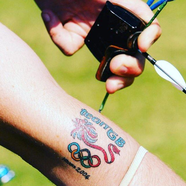 Well done Team GB! Feeling proud to be British hence we thought apt to post this photo of an Olympic Team GB tattoo  #olympics #teamgb #rulebritannia #tattoo #olympictattoo #proudtobeabulldog #proudtobebritish #archery #temporarytattoos #rio2016
