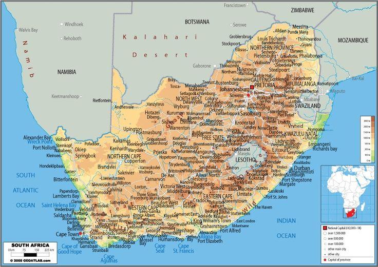 Carte relief et villes Afrique du sud
