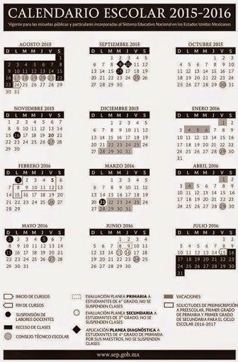 Calendario SEP Ciclo escolar 2015-2016