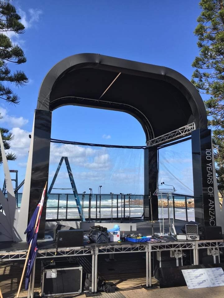 A beautifully presented stage setting for the ANZAC Day Dawn Service in Dee Why Beach 2016