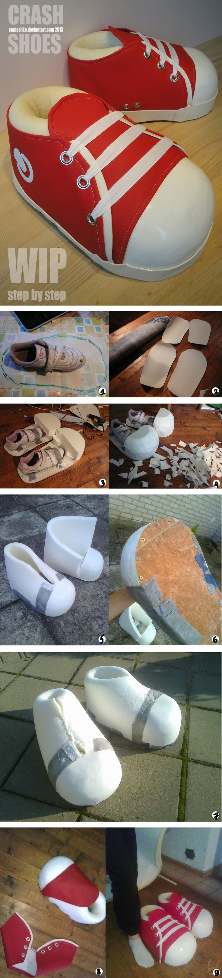 Crash Bandicoot Cosplay Shoes - WIP and HOW TO by Semashke
