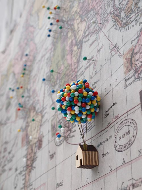 cute idea to capture travel memories in a kid's room or play area!