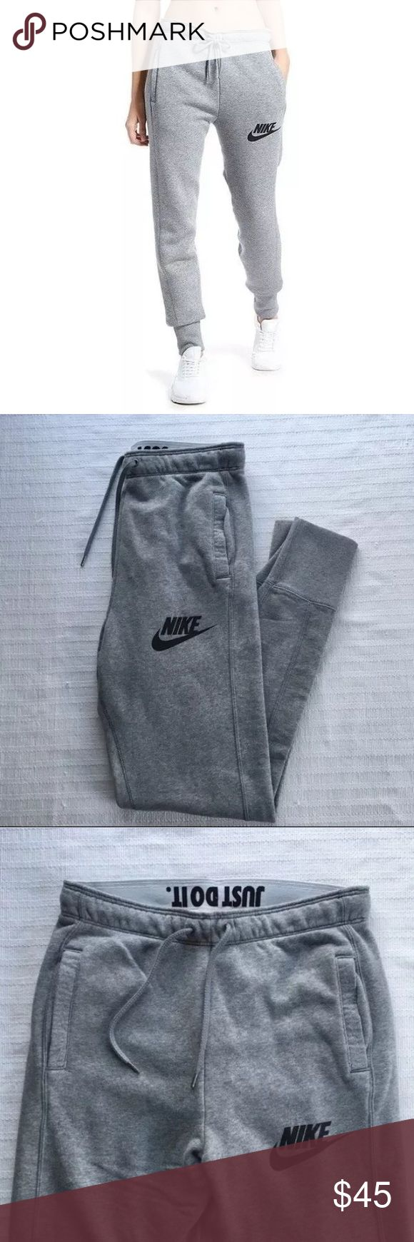 The Nike Rally Jogger Women's Sweatpants The Nike Rally Jogger Women's Sweatpants are made with a cozy cotton blend in a slim-fitting profile for warmth and a streamlined look. Style/Color: 718823-091  • Women's size Small  • NEW with tags • No trades •100% authentic Nike Pants Track Pants & Joggers