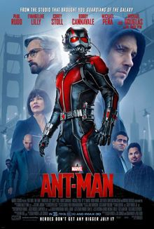 Official poster shows Ant-Man in his suit ,and introduces a montage of him starts to shrink with his size-reduction ability, with a montage of helicopters, a police officer holds his gun ,two men in suit and tie and sunglasses and the film's villain Darren Cross is walking with them smiling ,Paul Rudd as Scott Lang ,Michael Douglas as Pym and Evengeline Lilly as Hope with the film's title ,credits and release date below them ,and the cast names above.