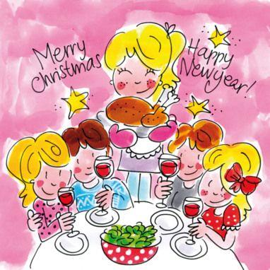Moeder met vier kinderen aan het kerstdiner- Greetz