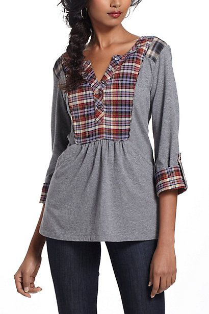 Plaid Placket Henley  #anthropologie mixed fabrics top shirt - use a man's shir for the plaid part