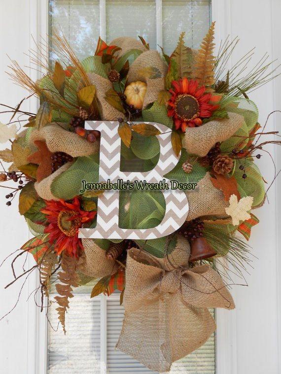 "22"" Fall Wreath, Burlap Wreath, Apple Green Mesh, Sunflowers with Chevron Monogram Letter on Etsy, $65.00"