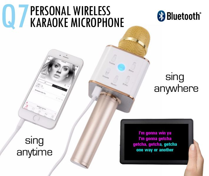 Q7 Personal Wireless Karaoke Microphone with Bluetooth connectivity sing-along to songs on your phone or tablet.