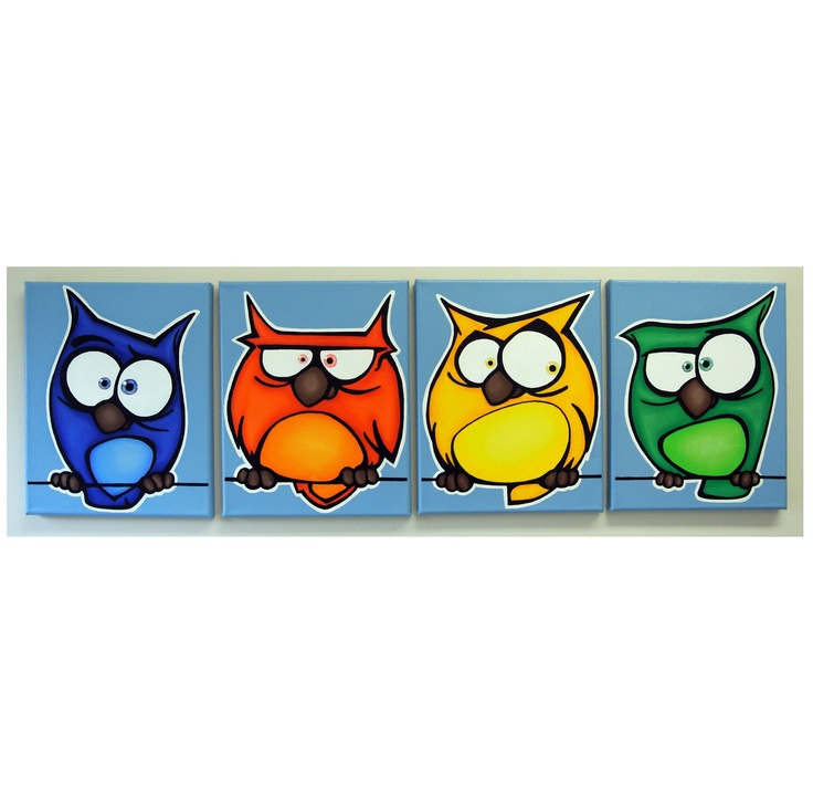 aNGRy oWLs - set of 4 8x10 original paintings on canvas, owl art, owl paintings -50%OFF (was 100). $50.00, via Etsy.