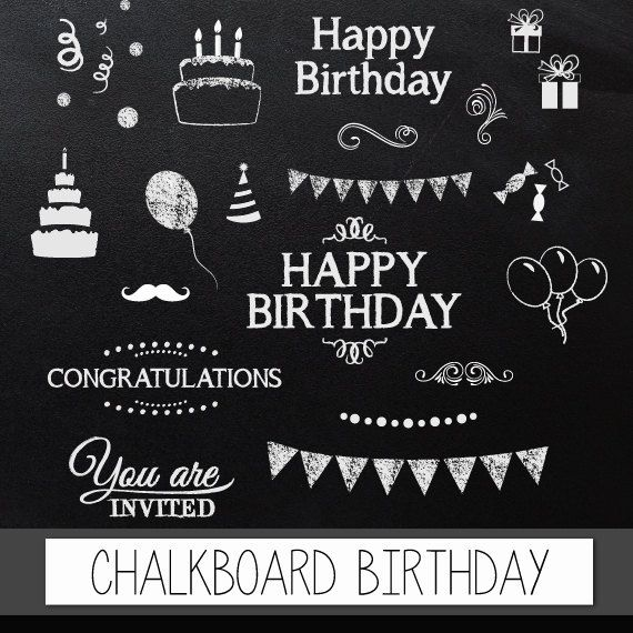 "Chalkboard clipart birthday: Digital clip art ""CHALKBOARD BIRTHDAY"" pack with chalkboard happy birthday, congratulations invite elements"