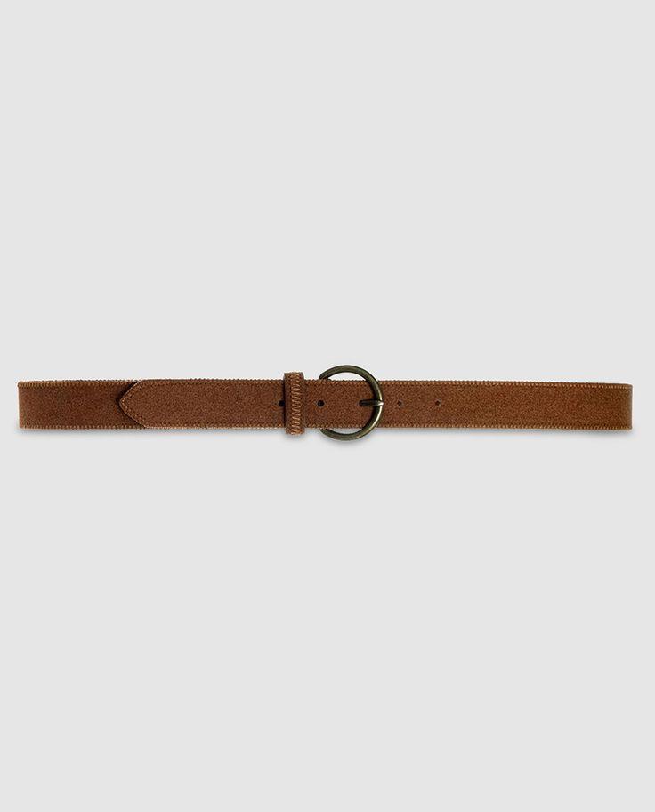 'Women's Belt' · 'Cinturón' de Mujer en color camel -de DAYADAY- | Cinturón en color liso camel con trabilla a tono y hebilla redonda metálica en color dorado || El Corte Inglés