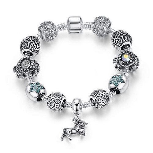 Horse Charm Bracelet with Crystal Beads