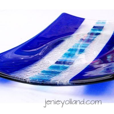 Stunning cobalt blue glass with my DNA design in the centre by jenie yolland available in every size i make, jenieyolland.com