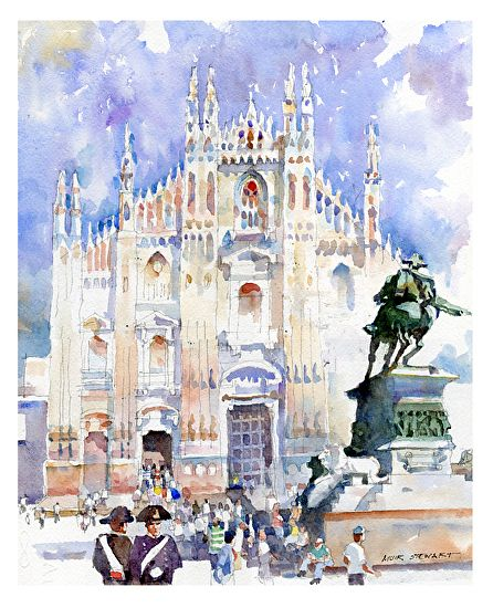 Piazza del Duomo, Milan by Muir Stewart Watercolor ~ 14 x 11