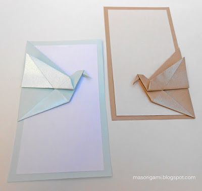handmade cards from mas origami .. origami crane is part of the paper card ...