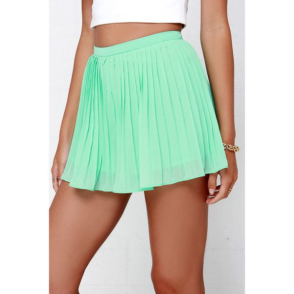 Sweetly Summoned Mint Green Shorts (27 SGD) ❤ liked on Polyvore featuring shorts, green, the clothing company, pleated shorts, green shorts, woven shorts and lightweight shorts