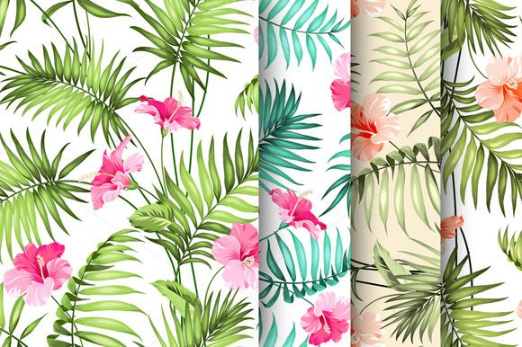 Tropical flowers pattern set. by Romantic Vintage Flowers on Creative Market