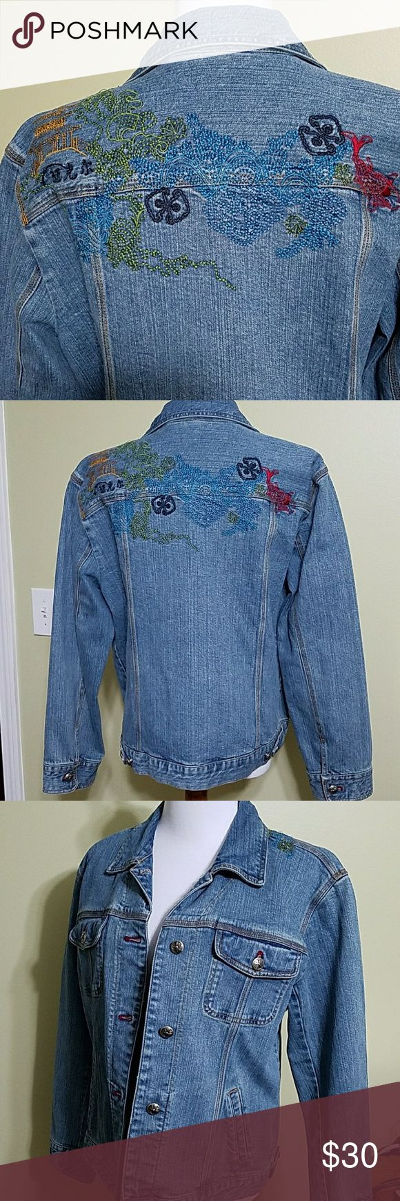 Chico's jean jacket with embroidered back Chico's jean jacket with embroidered back.  In great used condition.  Length is about 22 & 1/2 inches. Bust is about 42 inches. Chico's Jackets & Coats Jean Jackets