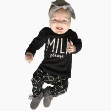 2017 outono do bebê da menina do menino roupas de manga Longa Top + calça 2 pcs terno esporte roupa do bebê set bebê recém-nascido roupas alishoppbrasil