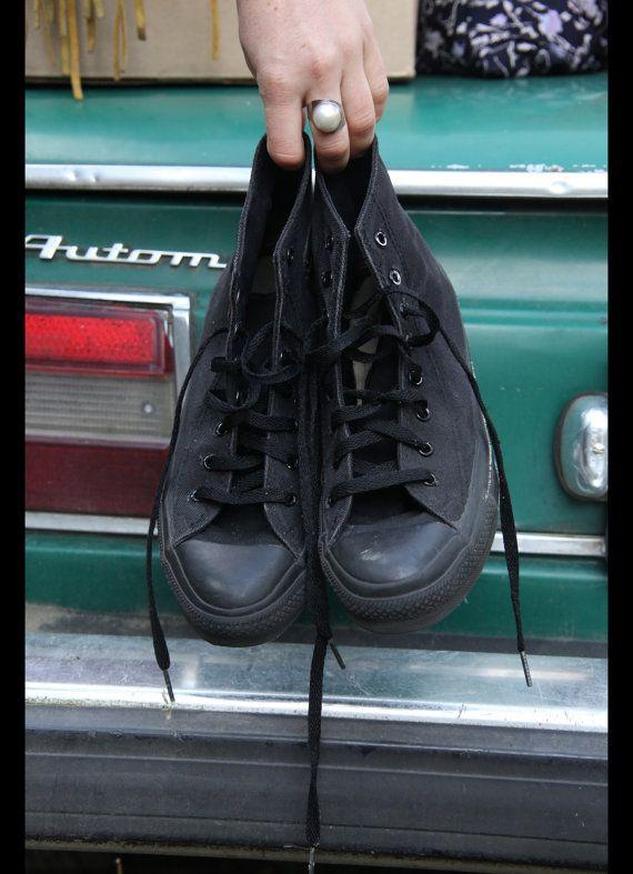 USA MADE Monochrome All Black Converse Hi  by ANNAKARINASCLOSET, $45.00