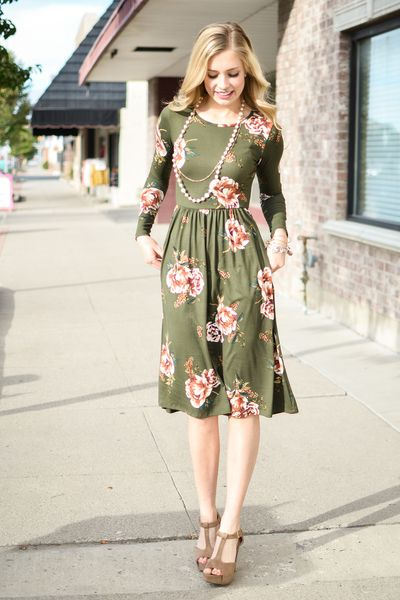 Olive Floral Fit and Flare Dress - My Sisters Closet