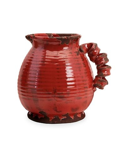 Tuscan Or French Country Rustic Garnet Red Decorative Pitcher Vase Ebay