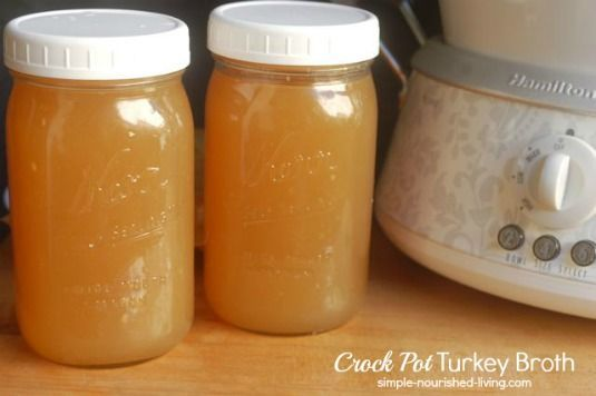 Crock pot Turkey Broth made from the leftover turkey bones. http://simple-nourished-living.com/2013/12/crock-pot-turkey-broth/