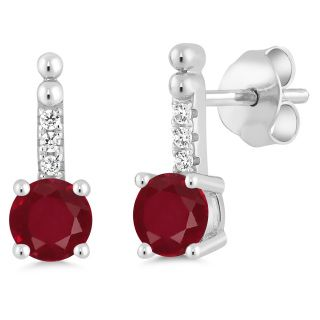 Beautiful genuine red ruby with swarovski earrings Great as a gift or for yourself.  Free Shipping from US