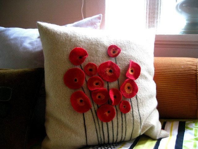 Red Poppy Wool Felt Pillow.