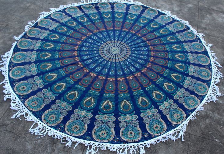 ROUND BEACH SHEET WITH TASSELS -  For more info you can go here -  http://www.fairdecor.com  #Beach #Sheet #Beach Throw, #Picnic Throw #Table Cloth #Wall hanging #Tapestry