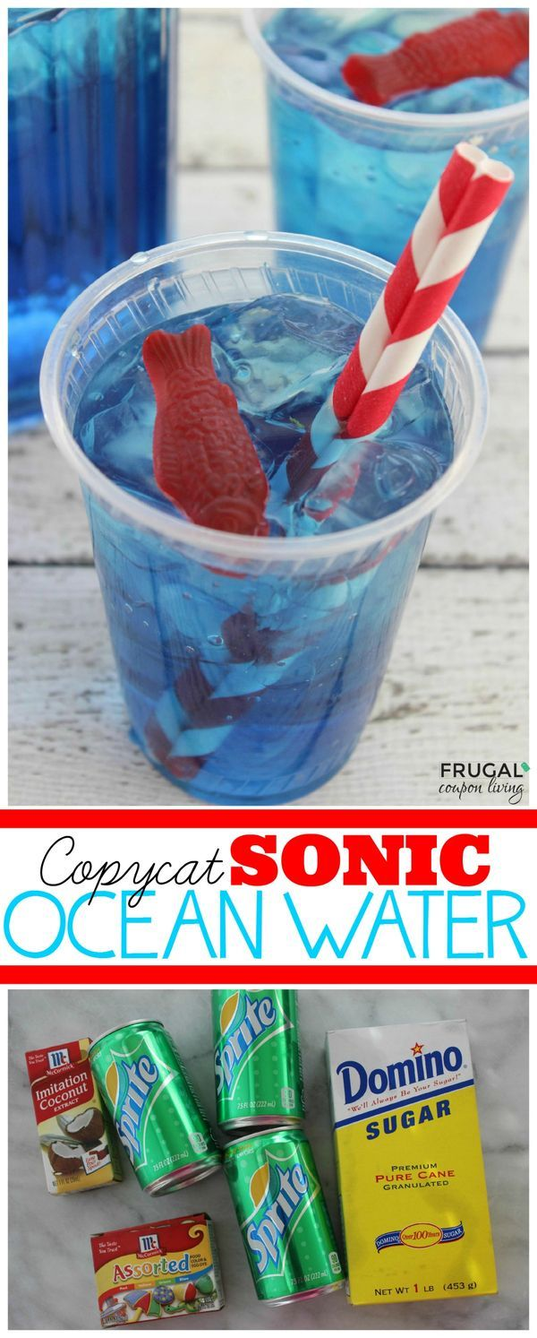 Copycat Sonic Ocean Water Recipe - This  simple pool drink has 4 easy ingredients. Great for a Dr Seuss Party, Mermaid Party Idea, or just a summer beverage. Details on Frugal Coupon Living.