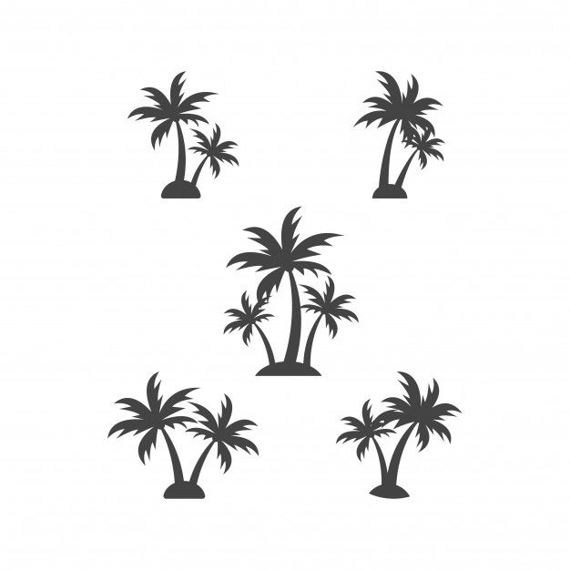 Palm Tree Silhouette Graphic Design Element Template Vector