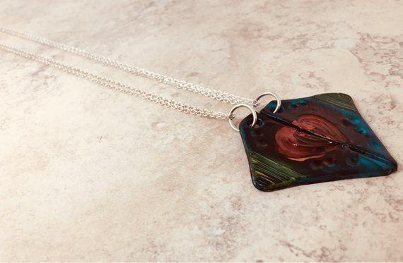 Valentinstag Geschenk für Freund – rustikale Herz Anhänger – Long Distance Friendship – handgemachte Polymer Clay Schmuck – BFF Halskette für 2   – Products