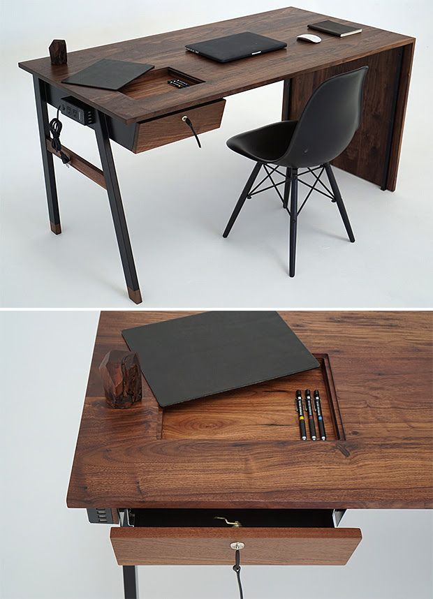 Designed and built in Southern California, the creations from the Sean Woolsey studio—like his #WaterfallDesk—feature unique craftsmanship and handmade detail. The desk's minimalist and asymmetric design is highlighted by the grain of black walnut and features a leather mousepad with hidden storage, a magnetic powerblock w 2AC & 2 USB outlets, & a single locking drawer.