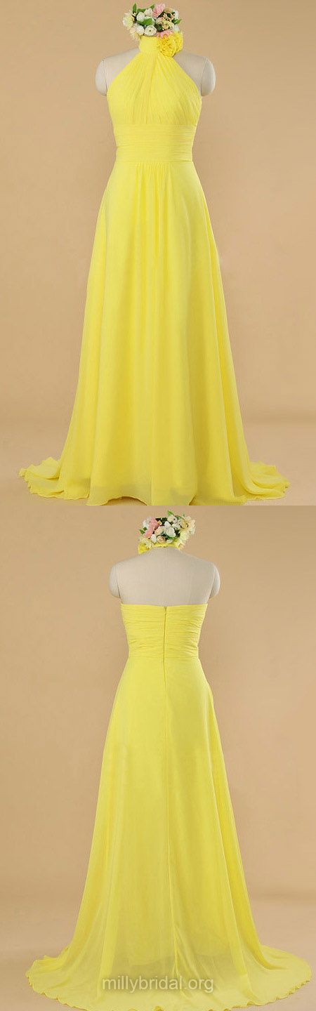 Yellow Bridesmaid Dresses Long, 2018 Bridesmaid Dresses Cheap, Halter Bridesmaid Dresses Chiffon with Ruffles