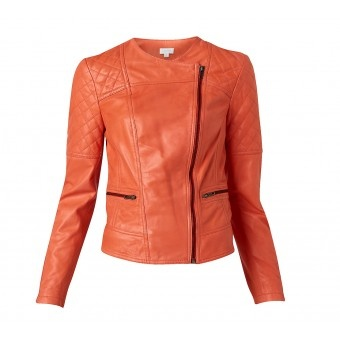 Our Peplum leather jacket is a must have piece. It features beautiful stitch detailing, sleeve zips and front pocket zips. Fashioned in a soft orange leather it is the perfect add of pop to the wardrobe.